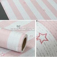 Decal dán tường Giấy decal cuộn sọc sao hồng