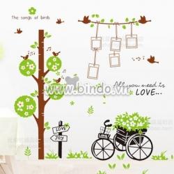 Decal dán tường Combo Cây photo va xe đạp