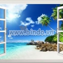 Decal dán tường Tranh cửa sổ biển 1