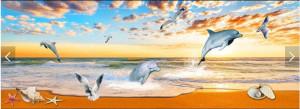 Decal dán tường Tranh cá heo và đại dương 3D