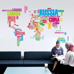 Decal dán tường Bản đồ thế giới (tên quốc gia 1)