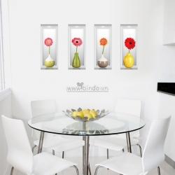 Decal dán tường Bình hoa nghệ thuật 3D số 3