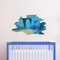 Decal dán tường Cá heo và đại dương 3D số 4