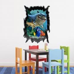 Decal dán tường Cá Nemo và bạn 3D