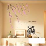 Decal dán tường Hoa đào, cành đào và xe đạp