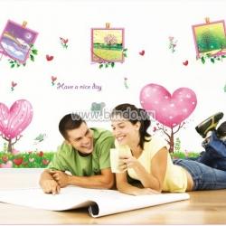 Decal dán tường Cây trái tim và khung ảnh