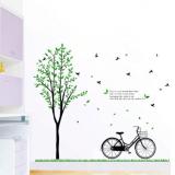 Decal dán tường Cây xanh xe đạp to