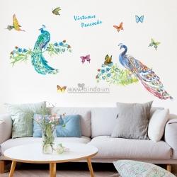 Decal dán tường Chim công sắc màu