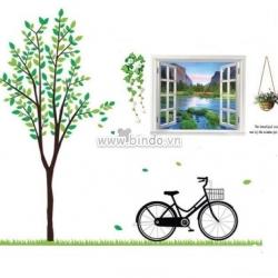 Decal dán tường Combo Cây xanh xe đạp to và Cửa sổ 3
