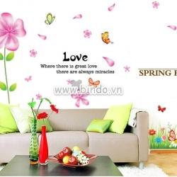 Decal dán tường Combo chân tường hoa 5 cánh hồng