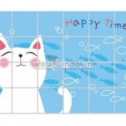 Decal dán tường Dán bếp Mèo trắng(60x90)