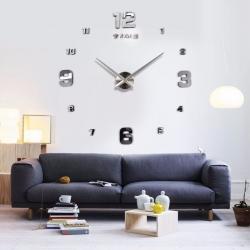 Decal dán tường Đồng hồ chữ số khổ lớn màu bạc