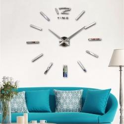 Decal dán tường Đồng hồ nét gạch khổ lớn màu bạc