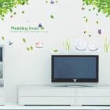 Decal dán tường Giàn cây xanh và thiên nga