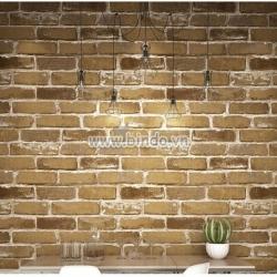 Giấy dán tường 3d gạch xám nâu