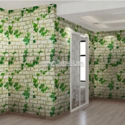 Decal dán tường Giấy decal cuộn dây leo xanh khổ lớn