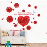 Decal dán tường Hoa hồng trái tim đỏ