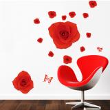 Decal dán tường Họa tiết hoa hồng đỏ