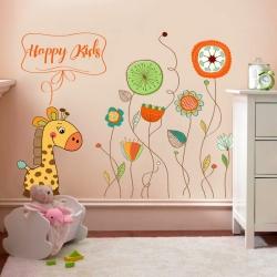 Decal dán tường Hươu con và hoa