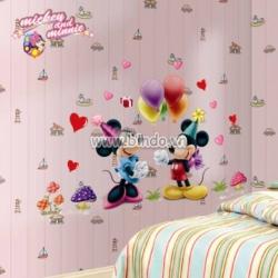 Decal dán tường Chuột Mickey cầm bóng size to