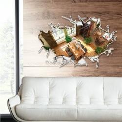 Decal dán tường Ngôi nhà 3D