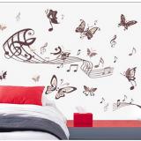 Decal dán tường Nhạc và bướm nâu