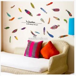 Decal dán tường Lông vũ sắc màu