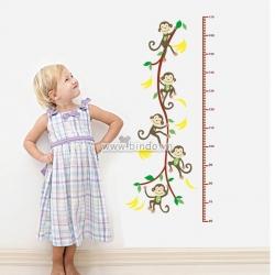 Decal dán tường Thước đo khỉ đu dây