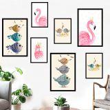 Decal dán tường Hồng hạc và chim
