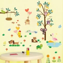 Decal dán tường Vườn thú sắc màu 3