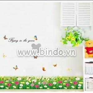 Decal dán tường   Chân tường hoa cúc đủ màu