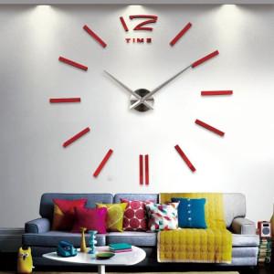 Decal dán tường  Đồng hồ nét gạch khổ lớn màu đỏ