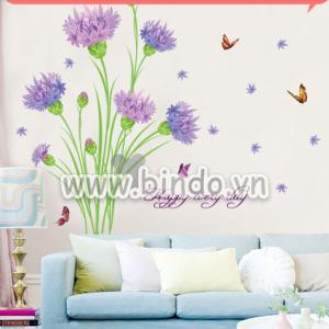 Decal dán tường Cẩm chướng tím