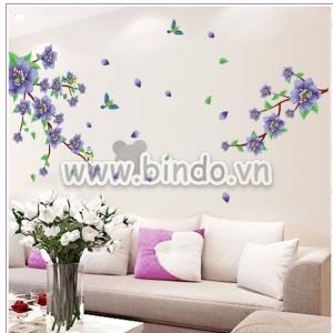 Decal dán tường Cành hoa tím 1