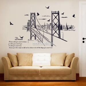 Decal dán tường Cây cầu và Thành phố