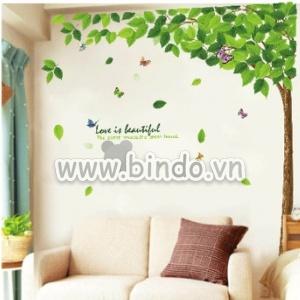 Decal dán tường Cây xanh lá