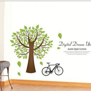 Decal dán tường Cây xanh và xe đạp