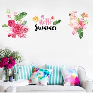 Decal dán tường Chim hoa sắc màu