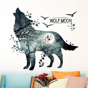Decal dán tường Chó sói và mặt trăng