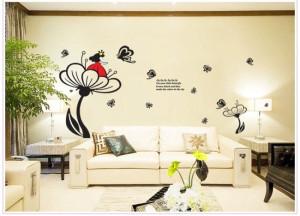 Decal dán tường Cô gái hoa sen