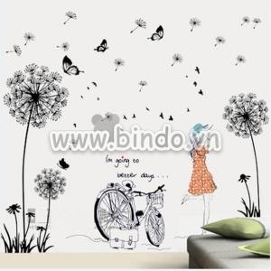 Decal dán tường Combo Hoa bồ công anh đen và Cô gái và xe đạp