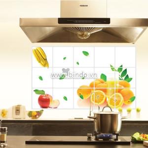 Decal dán tường Dán bếp trái cây chuối, táo, chanh