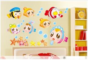 Decal dán tường Đàn cá sắc màu 8