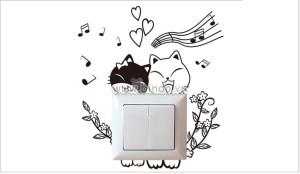 Decal dán tường Dán ổ điện đôi bạn mèo