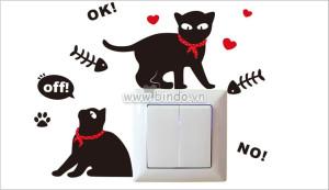 Decal dán tường Dán ổ điện đôi mèo đen