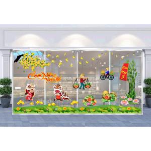 Decal dán tường Decal trang trí tết xuân 2020 combo số 23