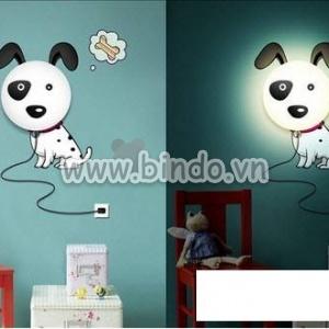 Decal dán tường Đèn ngủ chó đốm