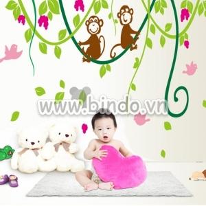Decal dán tường Đàn khỉ đu dây hồng