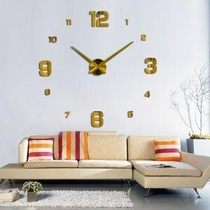 Decal dán tường Đồng hồ chữ số khổ lớn màu vàng