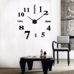 Decal dán tường Đồng hồ chữ và số khổ lớn màu đen